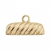 End Cap For 24x3mm Cord Rectangle Gold